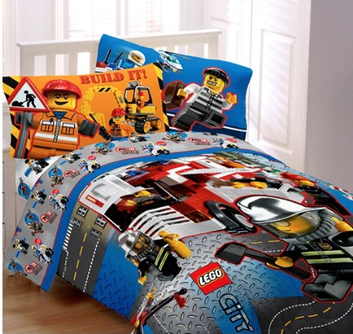 Lego City Twin Comforter & Sheet Set (4 Piece Bedding)