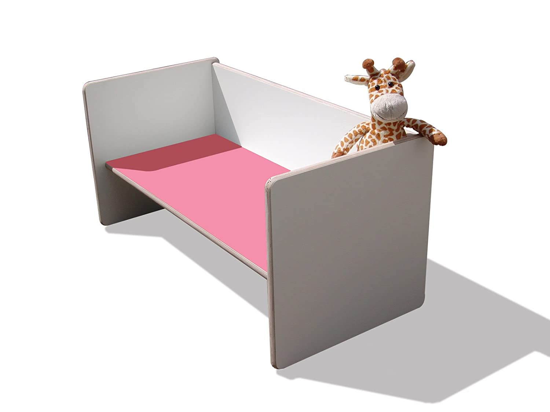 Kinder Wendetisch/Bank – weiß mit rosa Sitzfläche, sehr stabil