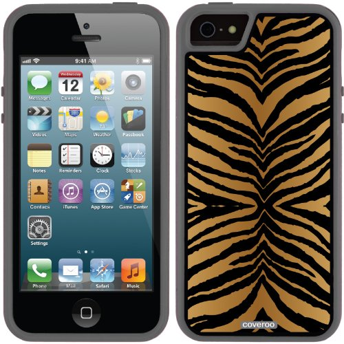 Special Sale Tiger Stripes Brown design on a Black iPhone 5s / 5 Guardian / Ruggedized Case by Coveroo