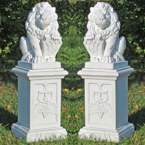 2 Wappenlöwen auf großer Säule 4-teilig günstig bestellen