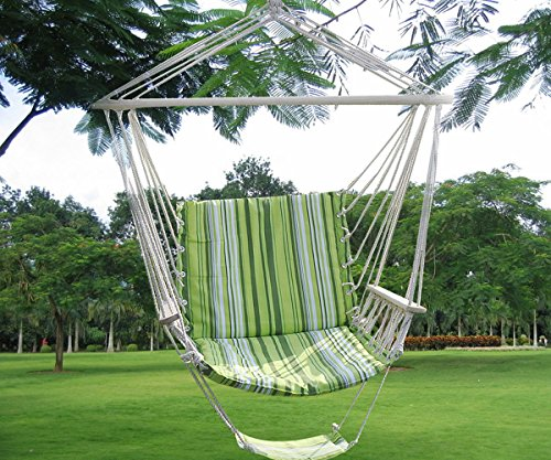 Green Leisure Swing Hammock Hanging Outdoor Chair Garden Patio Yard 260Lbs Max (Bat Hook Shelf Bracket compare prices)