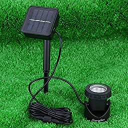 Constructan(TM) LED Solar Spotlight Garden Pool Waterproof Spot Light Lamp Outdoor Lighting