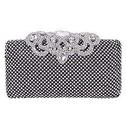 Fawziya Crown Clutch Purse Bling Hard Box Rhinestone Crystal Clutch Bag-Black