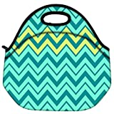 Snoogg Aqua Shades 2576 Travel Outdoor Carry Lunch Bag Picnic Tote Box Container Zip Out Removable Carry Lunchbox Handle Tote Lunch Bag Food Bag For School Work Office