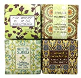Greenwich Bay Trading Company Zen Earthy French Milled Shea Butter Mini Soap Square Gift Set - Set of 4 Assorted Scents