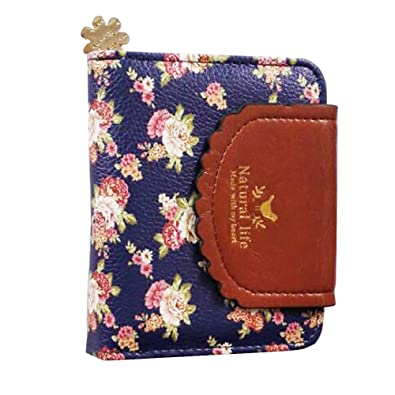 ETIAL Women's Vintage Floral Zip Mini Wallet Short Design Coin Purse Royal Blue