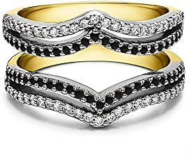 Silver Double Row Chevron Ring Guard with Black And White Diamonds 05 ct twt