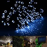 INST Solar Powered LED String Light - Ambiance Lighting - 65ft 20m 200 LED Solar Fairy String Lights for Outdoor - Gardens - Homes - Christmas Party (White)