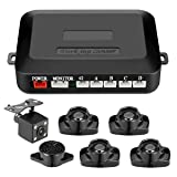 Tvird Parking sensor NEWEST Backup sensor kit 4 Parking Sensors Car Reverse Backup Radar System with extra backup camera car alarm(Painted to any color) (Tamaño: 2017 Newest Type(Black))