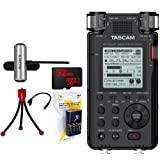 Tascam 192kHz/24bit-Compatible Studio-Quality Linear PCM Recorder (DR-100MKIII) w/Bundle + 32GB Micro SD Card + AA Charger w/4 2950mah AA Batteries + Flexible Mini Table-top Tripod AC Adapter