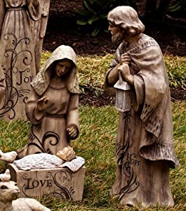 Mary joseph and baby jesus large nativity for Baby jesus lawn decoration