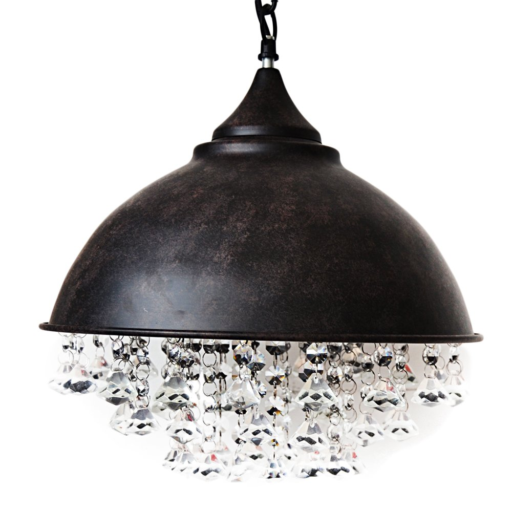 Ceiling Light Mklot Industrial Retro Style Rust Wrought Iron Shaded Glittering Crystal Beads