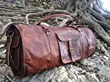 Vintage Crafts 21' Men's Genuine Leather Duffle Gym Bag, Leather Travel Bag