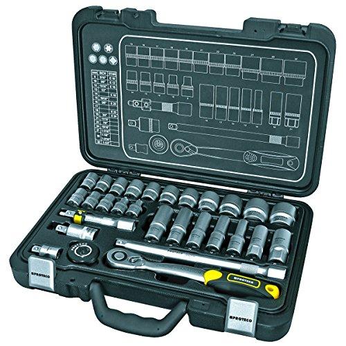Proteco-Werkzeug-Profi-Steckschlsselsatz-Steckschlsselkasten-1-2-Zoll-29-Teile-Ratschenkasten-Knarrenkasten
