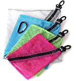 4 ZipClikGo Storage Mesh Organizer Bags, No More Fumbling and Guessing What's Where! Perfect Zip Pouch, Simple to Pack, Easy to Access. 4 Sizes, 4 Colors, Clips & Carabiner Clip. Organize on the go!
