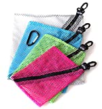 Zipclikgo Storage Mesh Organizer Bags, 4 Sizes in Assorted Colors With Clips And Carabiner Clip. These Small Zippered Nylon Pouches Are Perfect for Packing Computer Cables, Chargers, Cosmetics, Toiletries, Sport, Gym, Outdoor Gear, As Accessory Bags For Handbag Backpack Travel Luggage. Guaranteed!
