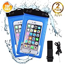 buy Waterproof Case, 2 Pack Universal Snowproof, Dirtproof Case Bag Perfect For Skiing, Shower, Fishing, Swimming, Protect Iphone 6S Plus, Samsung Galaxy, Htc, Up To 6 Inch Diagonal Blue