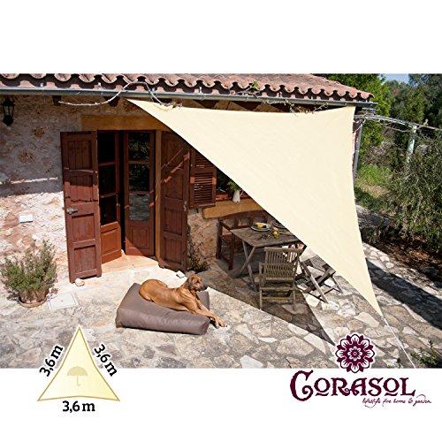 Corasol COR11TR36-CW - Vela de sombra para patio (resistente al agua), color beige, 3,6 x 3,6 x 3,6 m