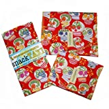 SnackTaxi Reusable Sandwich-sack Bag, Snack-sack Bag and Twice-as-nice Napkin Calavera Set.