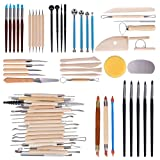 Tonsiki 61 Pieces Ceramic Clay Tools Set, Modeling Pottery Clay Sculpting Tools Kits for Beginners Professional Art Crafts, Wood and Steel, Schools and Home Safe for Kids