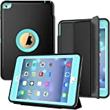 iPad Mini 4 Case, SEYMAC Three Layer Drop Protection Rugged Protective Heavy Duty iPad Mini Stand Case with Magnetic Smart Auto Wake/Sleep Cover for iPad Mini 4th Generation (Black/Light Blue) (Color: Light Blue, Tamaño: 8.3x0.8x5.8 inch)