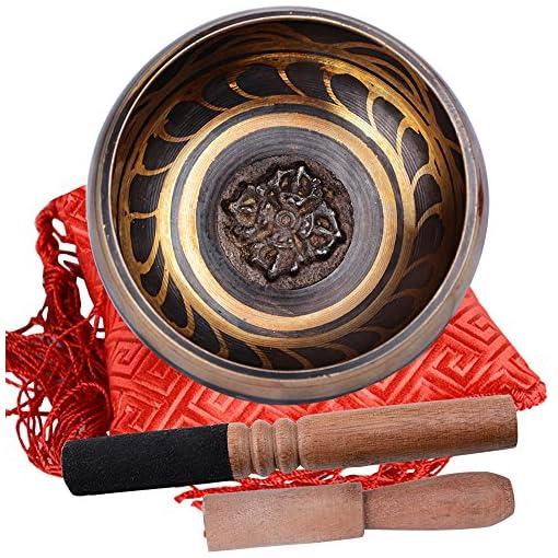 Tibetische-Klangschale-10-cm-mit-2-stk-Klppel-und-1-Kissen-zur-Meditation-fr-Yoga-und-Chakra-Heilung