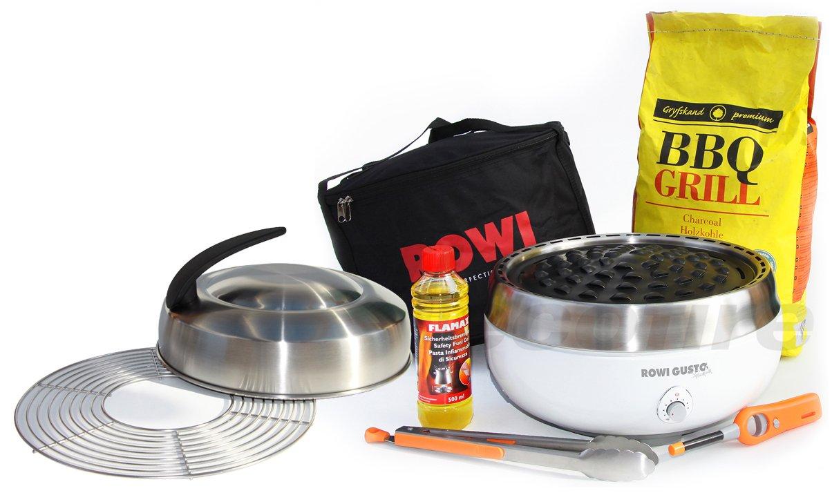 Holzkohle Tischgrill ROWI GUSTO Premium – Grillerette – Weiss, mit Deckel und Grillrost im Super-Komplett-Set mit Buchen-Holzkohle jetzt bestellen