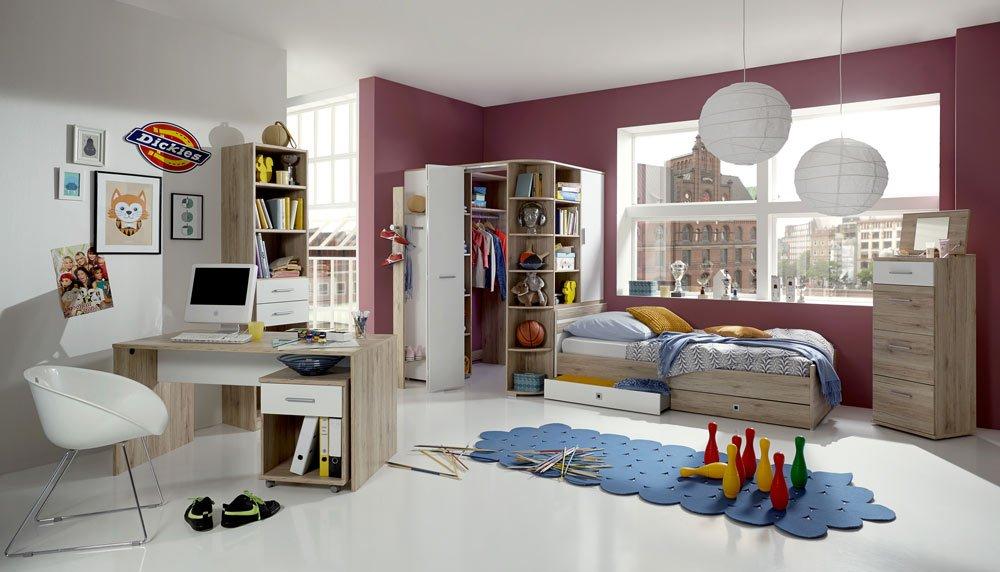 3-tlg. Jugendzimmer in San Remo Eiche-Nb./alpinweiß, mit einem begehbarem Eckschrank B: 124 cm, Bett (90 x 200 cm) und Schreibtisch B: 140 cm)