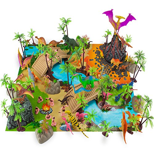 100-Piece-Dinosaur-and-Cave-Man-Prehistoric-Playset-with-Play-Mat-and-Storage-Container-by-Imagination-Generation