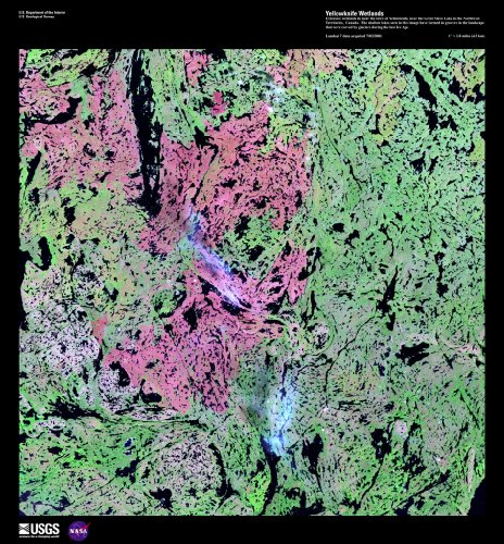 Earth As Art Satellite Photography Poster - Yellowknife Wetlands 26 X 24
