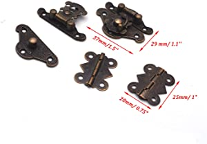 Antrader 6 Sets Furniture Hasp Latch Antique Style Lock Decorative Cabinet Jewelry Box Mini Clasp and 12 Butterfly Hinges Bronze Tone with 84 Screws (Color: Bronze Tone, Tamaño: 37 x 29 x 7mm/1.5'' x 1.1'' x 0.3''(L*W*H))