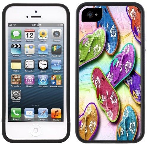 Flip Flops Sandals Shoes Handmade Iphone 5 5S Black Case front-249971