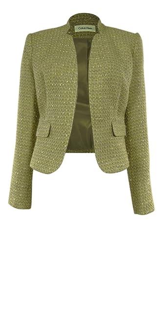 Calvin Klein Women's Metallic Flecked Tweed Blazer Jacket