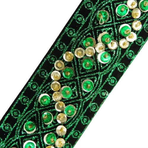 Green Beaded Trim Light Gold Sequin Decorative Border Lace Sewing Craft 3 Yd