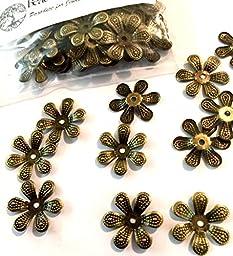 100 (HUNDRED) Nickel Free Vintage Antique Bronze 6 Petal Flower, Flexible Filigree Bead Caps Iron, 16mm Hypoallergenic
