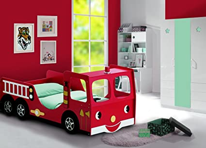 Childrens Kids Red Fire Engine Bed Bunk Frame 3FT Novelty Car Bed - MATTRESS INCLUDED
