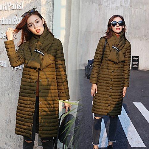 MYM inverno delle donne lungo tratto ragazze del collare di colore solido di fascia alta giacca sottile e leggero ladies fashion giù cappotto di Down , dark brown , l