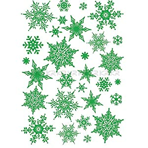 #!Cheap Easy Instant Decoration Wall Sticker Decal - Ornate Glittery Green Snowflakes