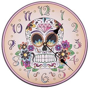 Lauren Billingham Day of the Dead Skull - Reloj de pared, diseño de calavera y flores   Comentarios de clientes y más noticias
