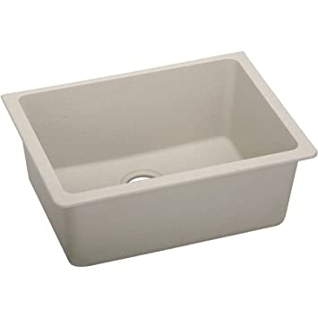 "Elkay ELGU2522PT0 Granite 25"" x 18.5"" x 9.5"" Single Bowl Undermount Kitchen Sink, Putty"