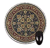 """Navy and Burgundy Rug-Look 8"""" Round Mouse-Pad/Mouse-Mat"""