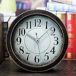 Usany 5 inch black Vintage Wood Pattern Analog Table Clock Arabic numbers Silent Non-ticking Quartz Desk Clock Alarm Clock Round Desk Clocks 3D Clock Christmas gift