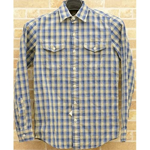 (ダブルアールエル) RRLチェック ワークシャツ ブルー x ナチュラル XS Workshirt 並行輸入品