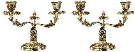 Virtus 1898 - Pareja de candelabros de 2 velas, fabricado en bronce, 16 x 23 cm
