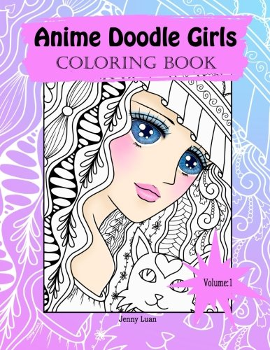 Anime Doodle Girls Coloring Book For Adults Stress