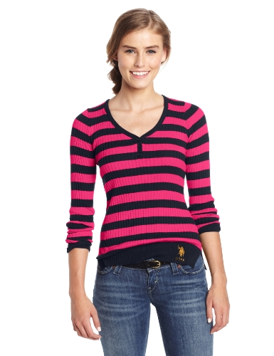 U.S. Polo Assn. Juniors Henley Sweater With V-Neckline, Berry Bug, Large