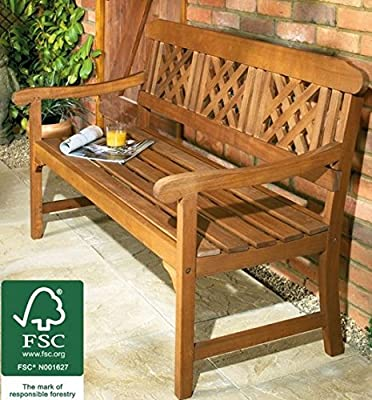3 Seater Wooden Garden Bench, Quality All weather Eucalyptus Hardwood with brass-plated fittings. Certified by FSC (Forestry Stewardship Council). This Lovely Outdoor Furniture would Make for a Perfect Christmas Gift Idea as a Conservatory, Patio. Lawn or