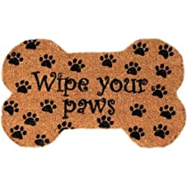 Wipe Your Paws Dog Bone Mid-Thickness Hand Woven Coir Doormat 18 x 30 Inch