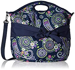 Fit and Fresh Maui Insulated Beach Tote, Summer Paisley, Navy
