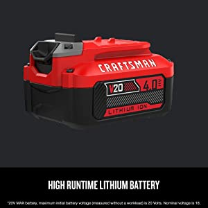 CRAFTSMAN 20V MAX Lithium Ion Battery, 4.0-Amp Hour, 2 Pack (CMCB204-2) (Renewed)